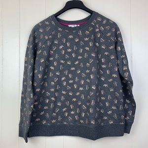 BODEN | Gray Sweater w/ Gold Sparkle Crown Print-L